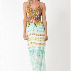Hale Bob Halter Maxi Dress Rayon Jacquard L NWT